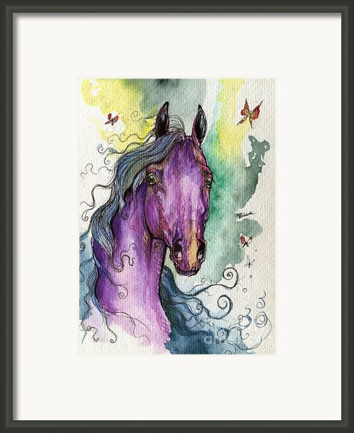 Purple Horse Framed Print By Angel  Tarantella