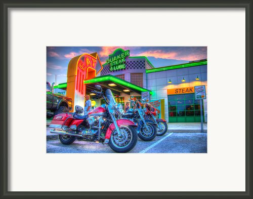 Quaker Steak And Lube Bike Night Framed Print By Zane Kuhle
