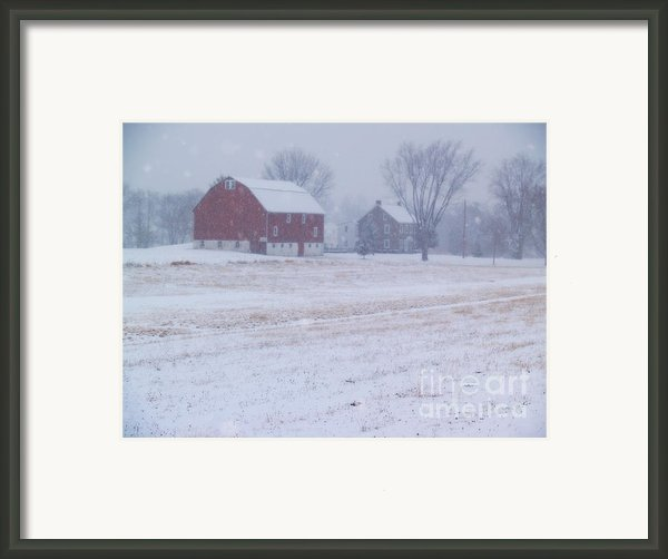 Quakertown Farm On Snowy Day Framed Print By Anna Lisa Yoder