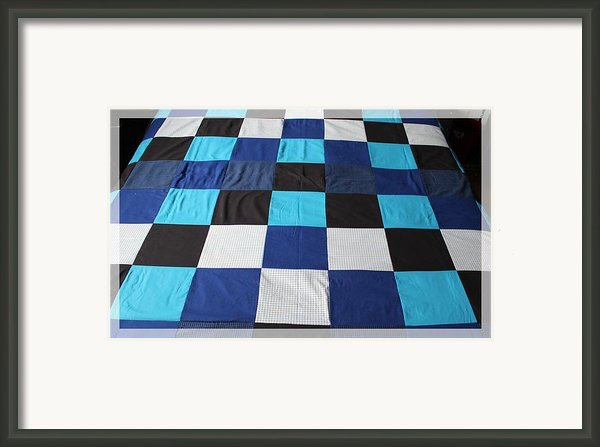 Quilt Blue Blocks Framed Print By Barbara Griffin