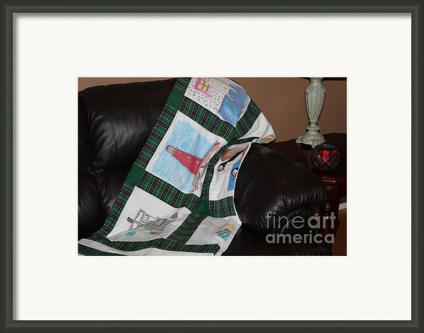 Quilt Newfoundland Tartan Green Posts Framed Print By Barbara Griffin