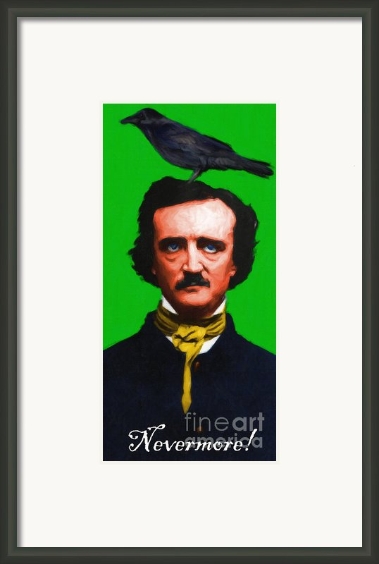 Quoth The Raven Nevermore - Edgar Allan Poe - Painterly - Green - With Text Framed Print By Wingsdomain Art And Photography