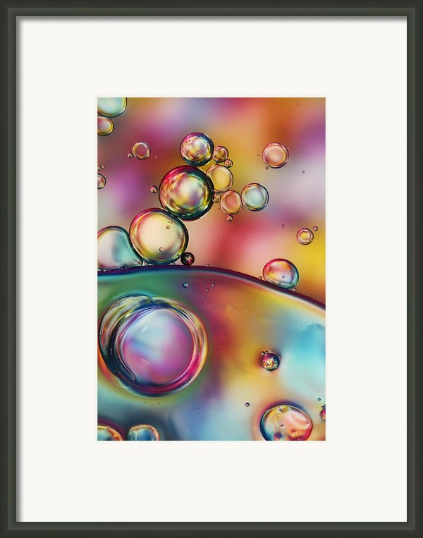 Rainbow Bubble Drops Framed Print By Sharon Johnstone