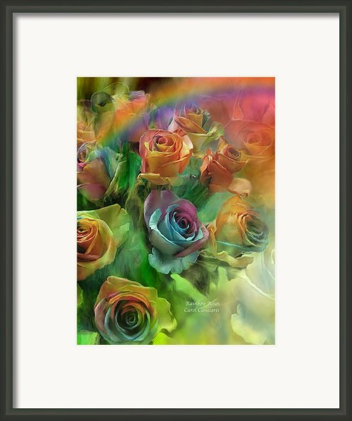 Rainbow Roses Framed Print By Carol Cavalaris