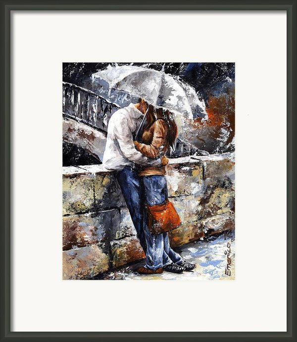 Rainy Day - Love In The Rain Framed Print By Emerico Imre Toth