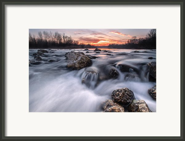 Rapids On Sunset Framed Print By Davorin Mance