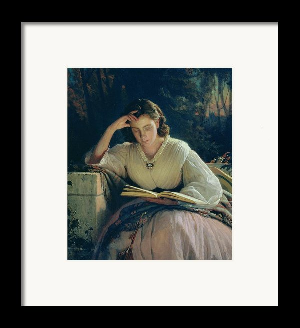Reading Framed Print By Ivan Nikolaevich Kramskoy
