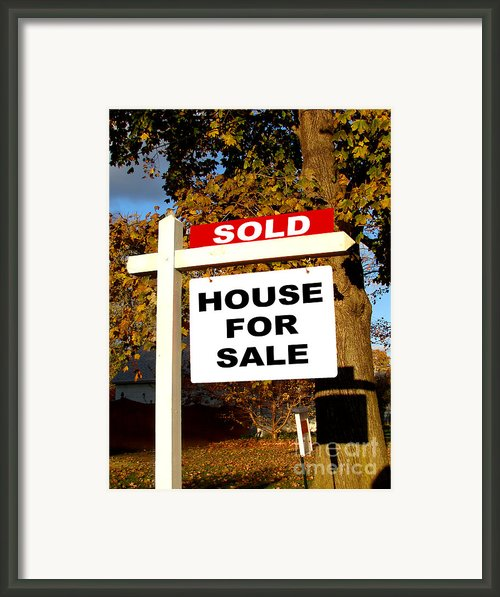 Real Estate Sold And House For Sale Sign On Post Framed Print By Olivier Le Queinec