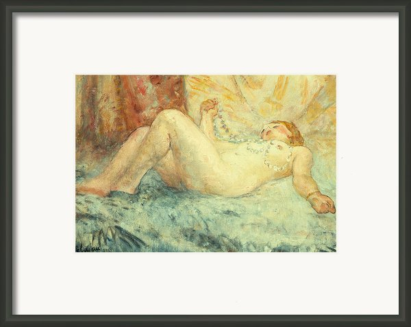 Reclining Nude Framed Print By Henri Lebasque