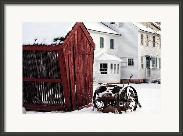 Red Barn In Winter Framed Print By John Rizzuto