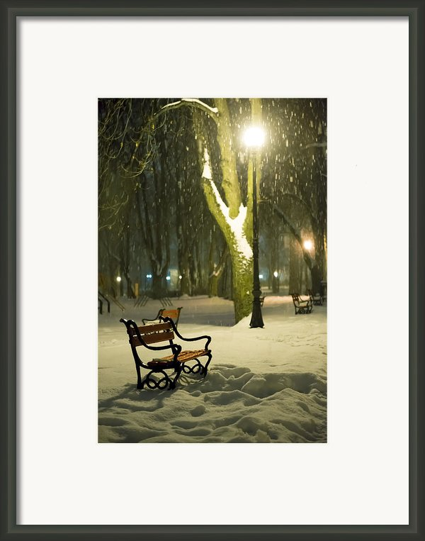 Red Bench In The Park Framed Print By Jaroslaw Grudzinski