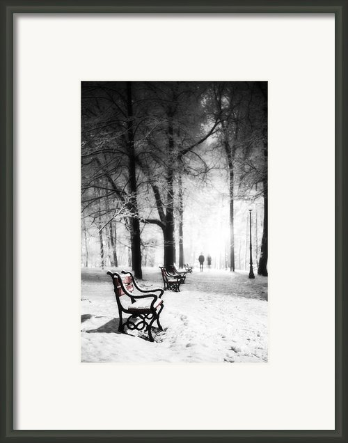 Red Benches In A Park Framed Print By Jaroslaw Grudzinski