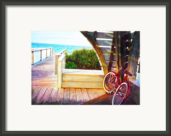 Red Bike On Beach Boardwalk Framed Print By Jane Schnetlage