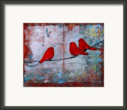 Red Birds Let It Be Framed Print By Blenda Studio