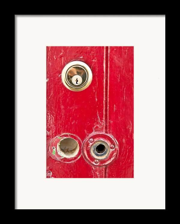 Red Door Lock Framed Print By Tom Gowanlock