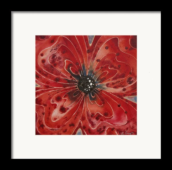 Red Flower 1 - Vibrant Red Floral Art Framed Print By Sharon Cummings