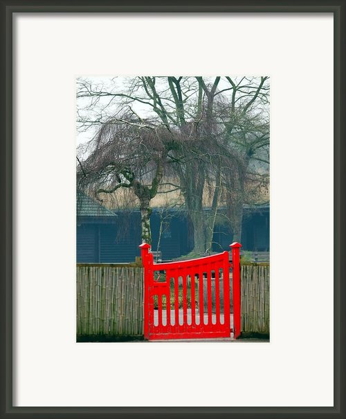 Red Gate Framed Print By Susan Tinsley