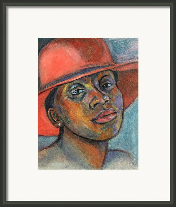 Red Hat Lady Framed Print By Xueling Zou
