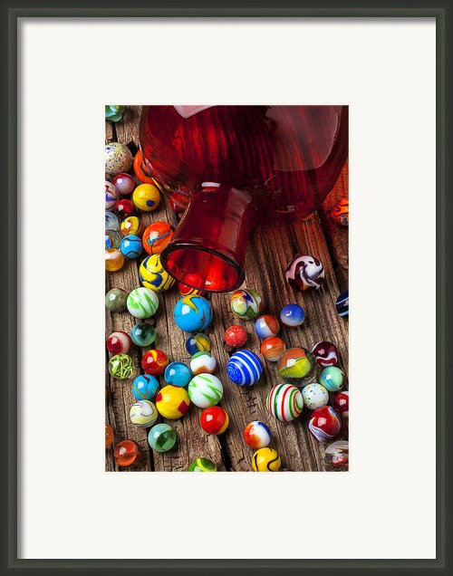 Red Jar With Marbles Framed Print By Garry Gay