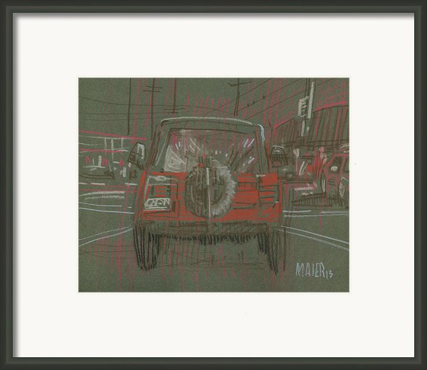 Red Jeep Framed Print By Donald Maier