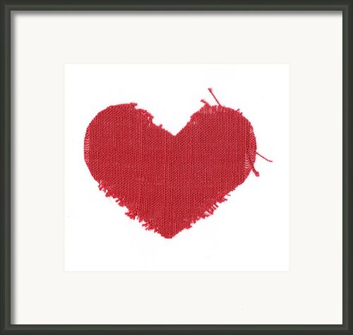 Red Linen Heart Framed Print By Yana Vergasova