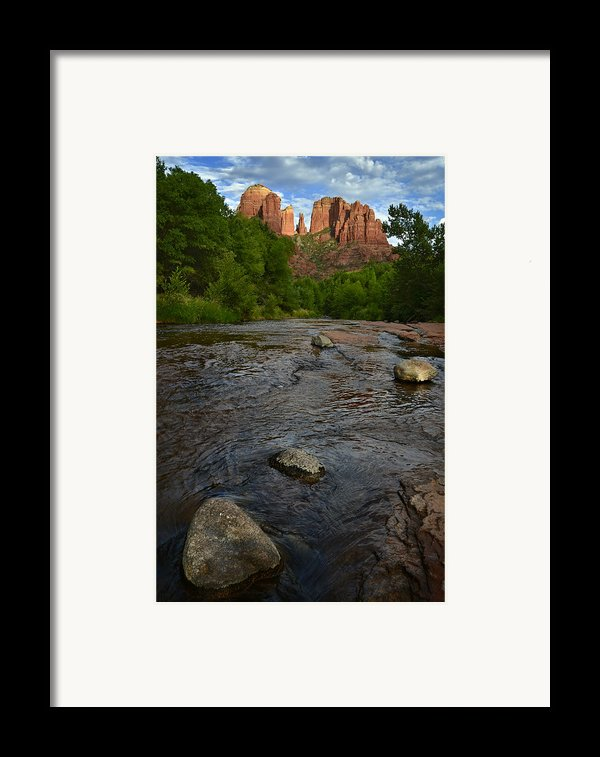 Red River Crossing Under Cathedral Rock Framed Print By Dave Dilli