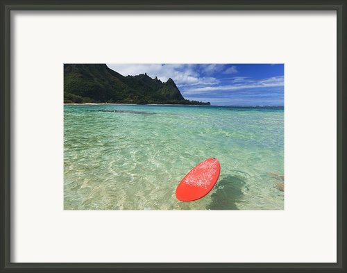 Red Surfboard - Kauai Framed Print By M Swiet Productions