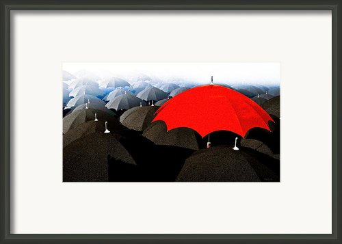 Red Umbrella In The City Framed Print By Bob Orsillo