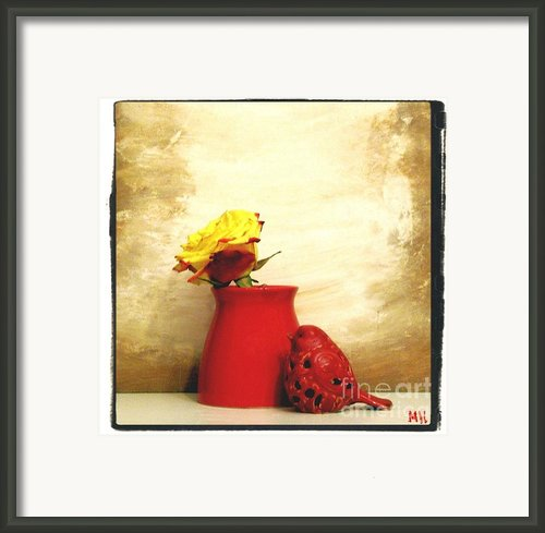Red Vase Red Bird And Red Yellow Rose Framed Print By Marsha Heiken