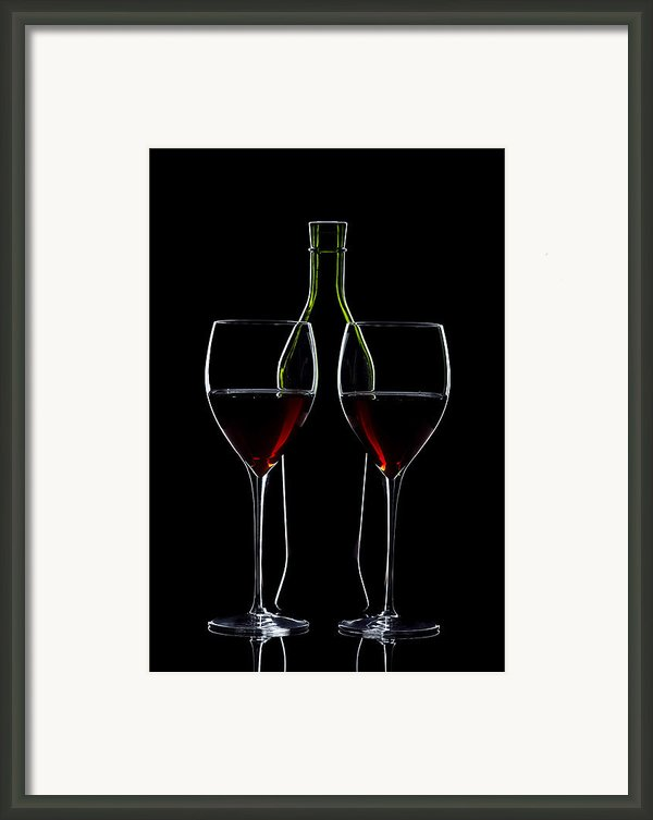 Red Wine Bottle And Wineglasses Silhouette Framed Print By Alex Sukonkin