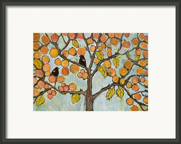 Red Winged Black Birds In A Tree Framed Print By Blenda Studio