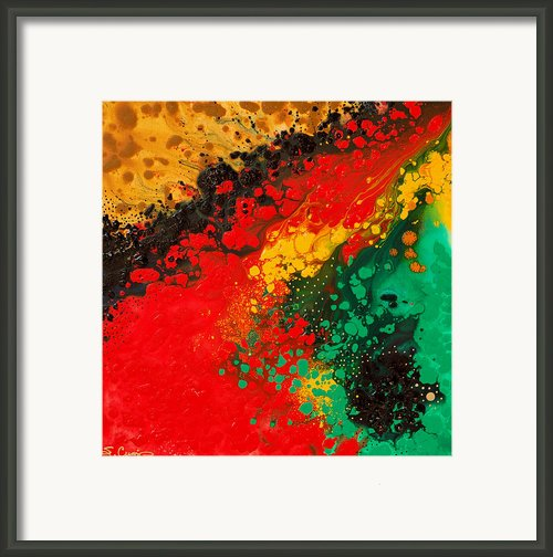 Red Yellow Green Black Abstract Framed Print By Sharon Cummings