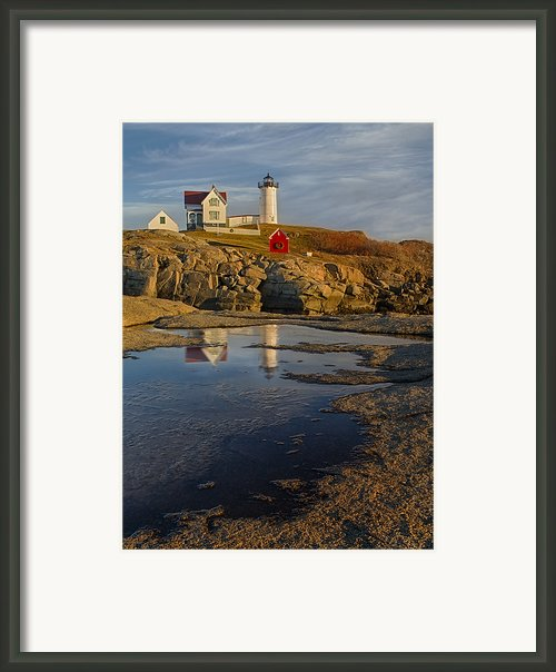 Reflecting On Nubble Lighthouse Framed Print By Susan Candelario