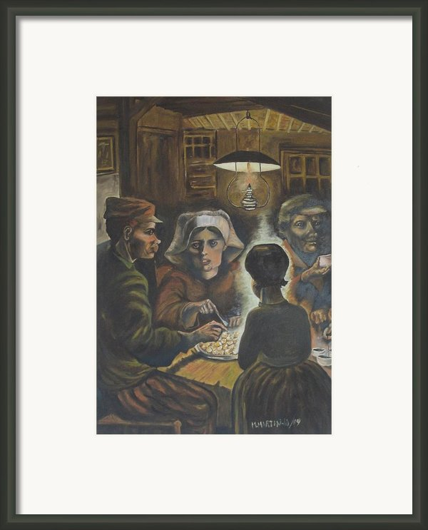 Reproduction Of The Potato Eaters Framed Print By Marcello Martinho