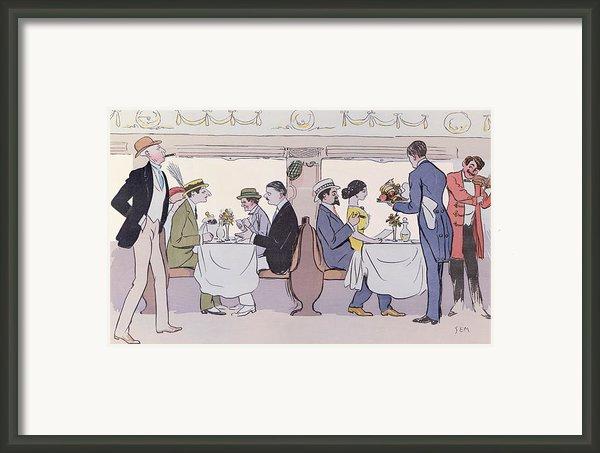 Restaurant Car In The Paris To Nice Train Framed Print By Sem
