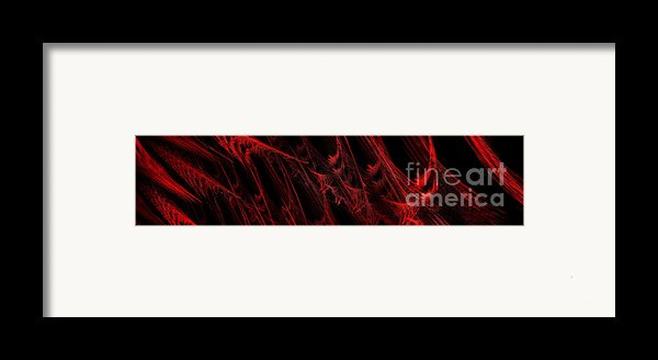 Rhapsody In Red H - Panorama - Abstract - Fractal Art Framed Print By Andee Design