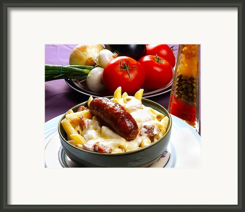 Rigatoni And Sausage Framed Print By Camille Lopez