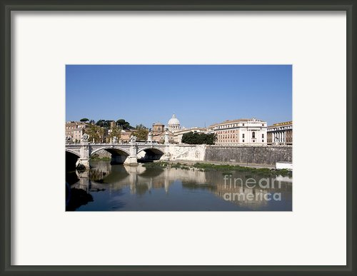 River Tiber With The Vatican. Rome Framed Print By Bernard Jaubert