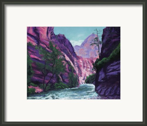 Riverside Walk Zion National Park Framed Print By Marion Derrett