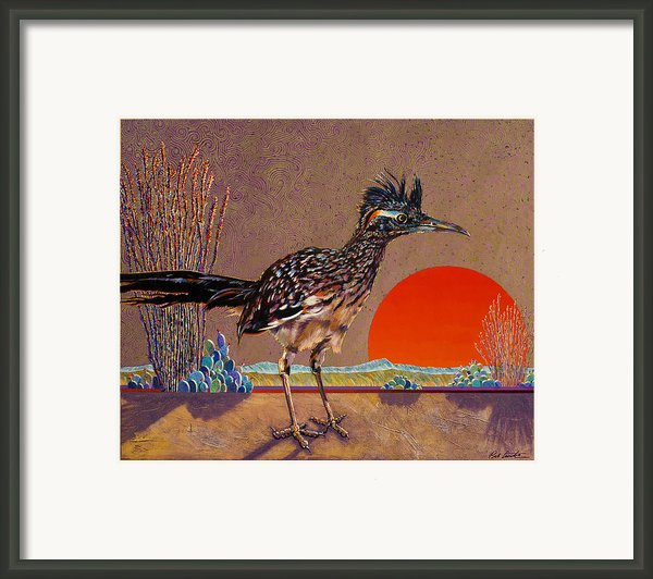 Road Runner At Sundown Framed Print By Bob Coonts