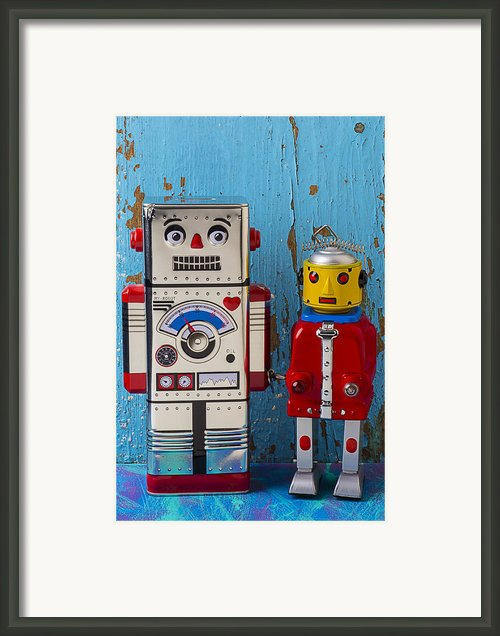 Robot Friends Framed Print By Garry Gay