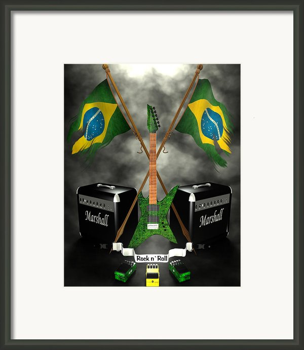 Rock N Roll Crest - Brazil Framed Print By Frederico Borges