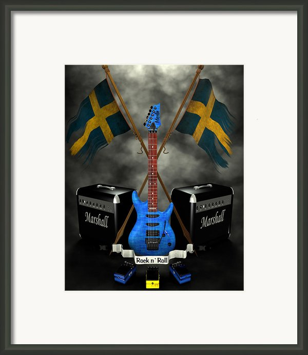 Rock N Roll Crest- Sweden Framed Print By Frederico Borges