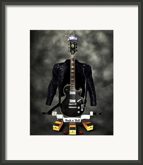 Rock N Roll Crest-the Guitarist Framed Print By Frederico Borges