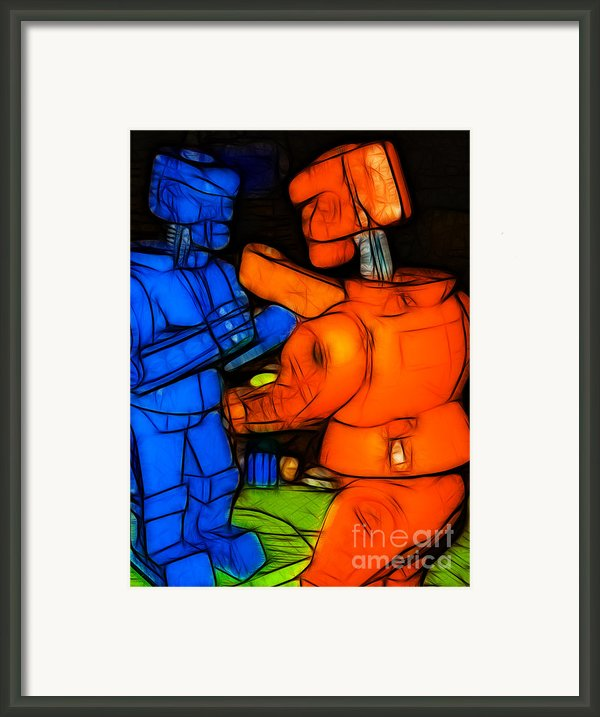 Rockem Sockem Robots - Color Sketch Style - Version 3 Framed Print By Wingsdomain Art And Photography
