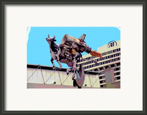 Rocket Cow Sculpture By Michael Bingham Framed Print By Steve Ohlsen
