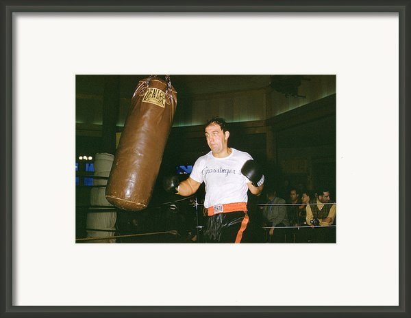 Rocky Marciano Working Heavy Bag Framed Print By Retro Images Archive
