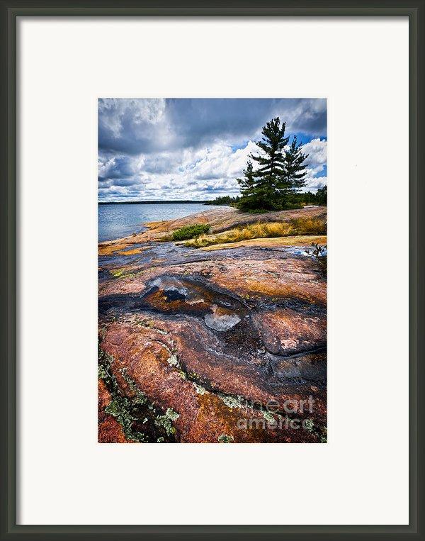 Rocky Shore Of Georgian Bay Framed Print By Elena Elisseeva