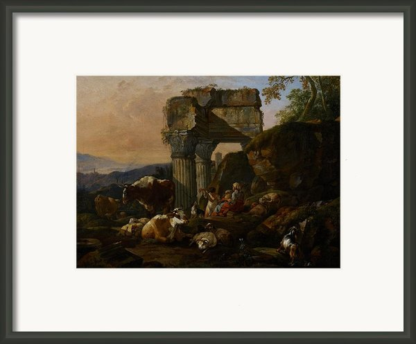 Roman Landscape With Cattle And Shepherds Framed Print By Johann Heinrich Roos