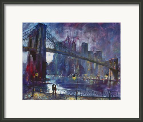 Romance By East River Framed Print By Ylli Haruni